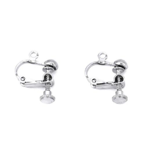 Lot de 2 support boucles d'oreilles clip à vis, métal argenté 18x13mm