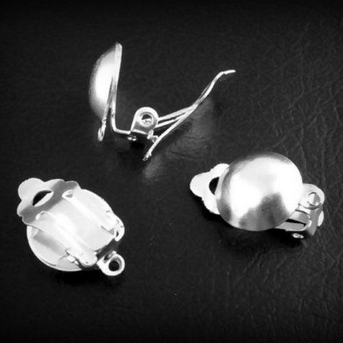 lot de 2 support boucles d'oreilles clips pince, métal argenté clair 20x14mm