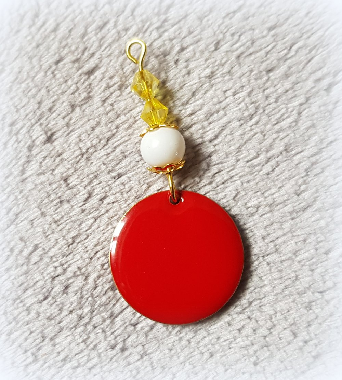 1 montage rond émaillés Double Face rouge, perle en verre blanche, jaune, coupelles, métal doré 42x20mm