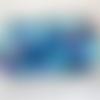 Lot de 100 perles à facette en verre toupie, losange, différents bleu transparent, turquoise 4x4mm