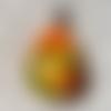 1 pendentif breloques, résine fleur séché, géométrique goutte, orange, jaune, vert, lisse, bélière en métal argenté 34x17mm