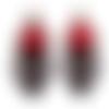 1 montage pendentif, fleur rouge en ruban, dentelle ajouré noir, métal bronze, crochet boucle d'oreille offertes 54x22mm