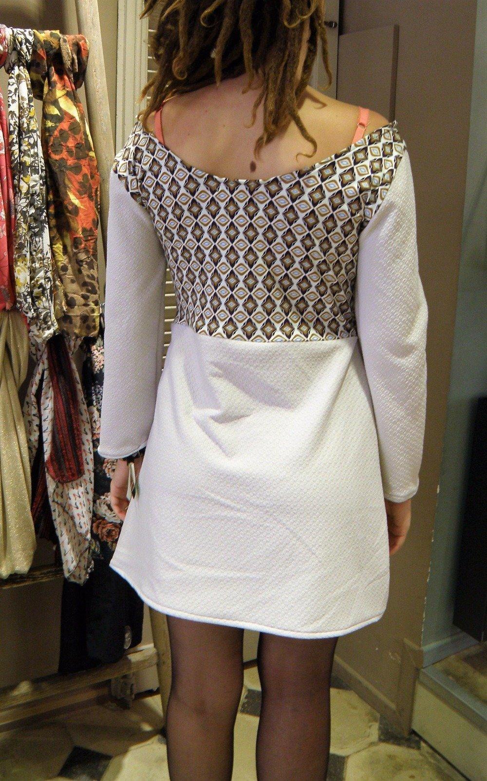 """robe """"margot"""" gris claire et motif vintage chic"""