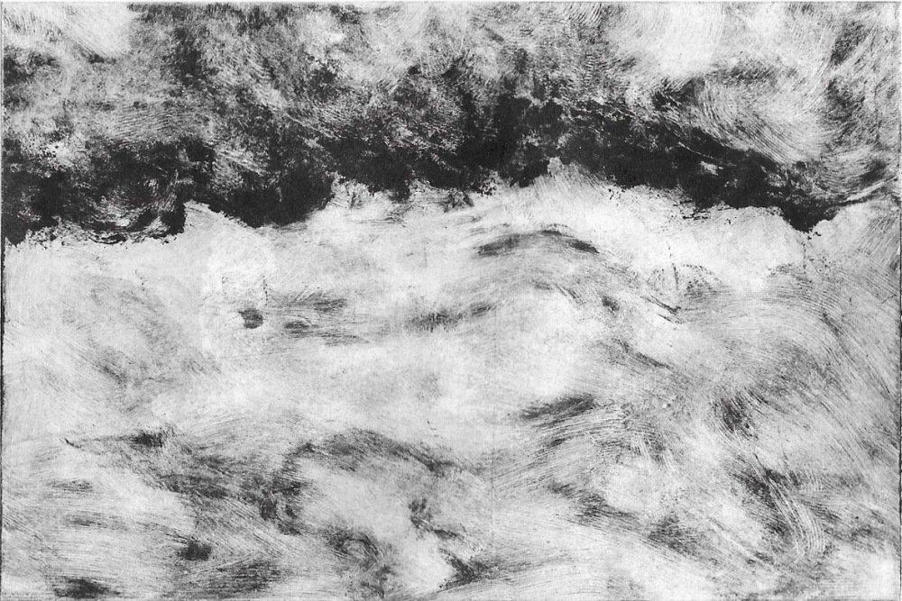 Carte postale, mer agitée, reproduction monotype