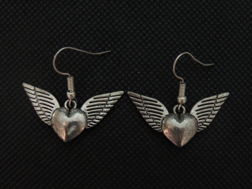 Boucles d'oreilles pendantes Coeur Ailé