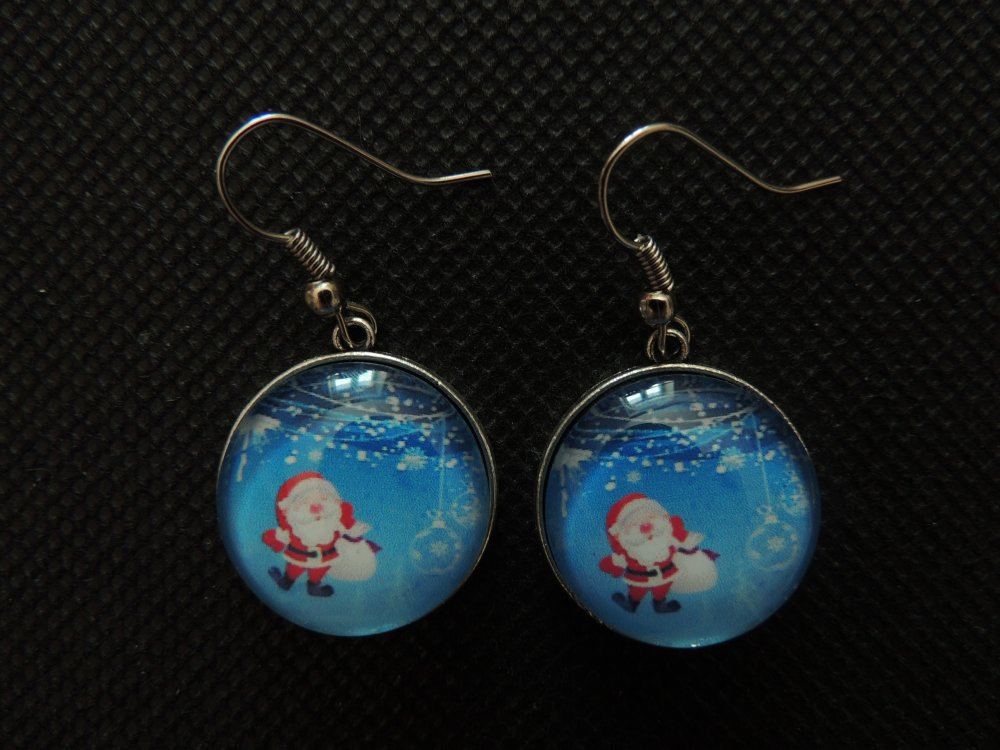 Boucles d'oreilles pendantes Cabochon Père Noël