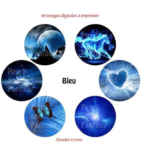 """Images digitales rondes """"bleu"""" 14 mm"""