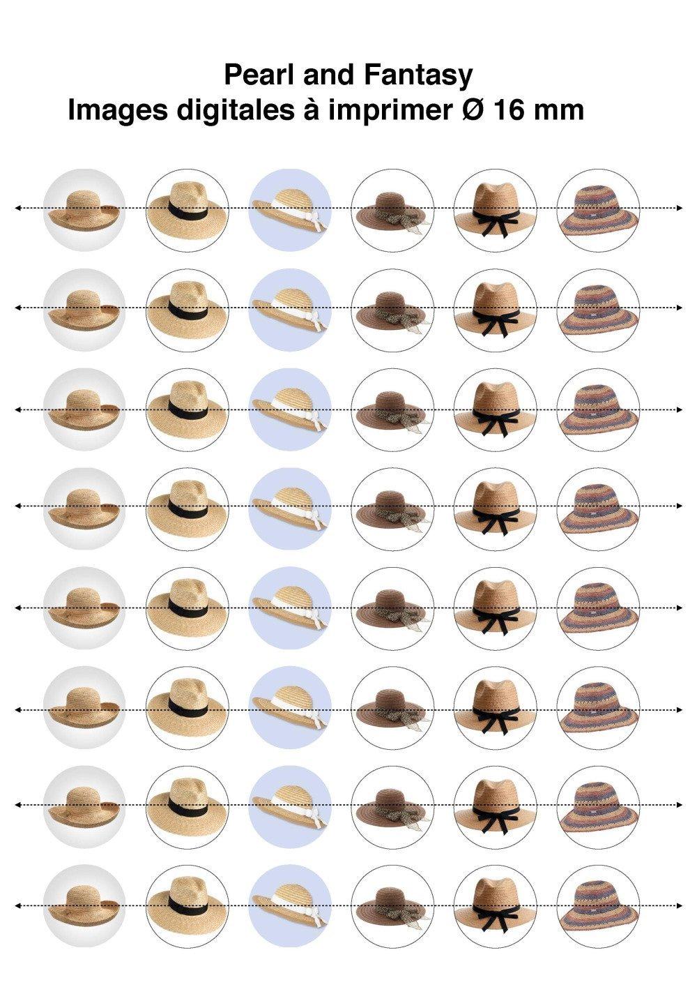 """Images Digitales Rondes """"Chapeaux"""" 16 mm"""