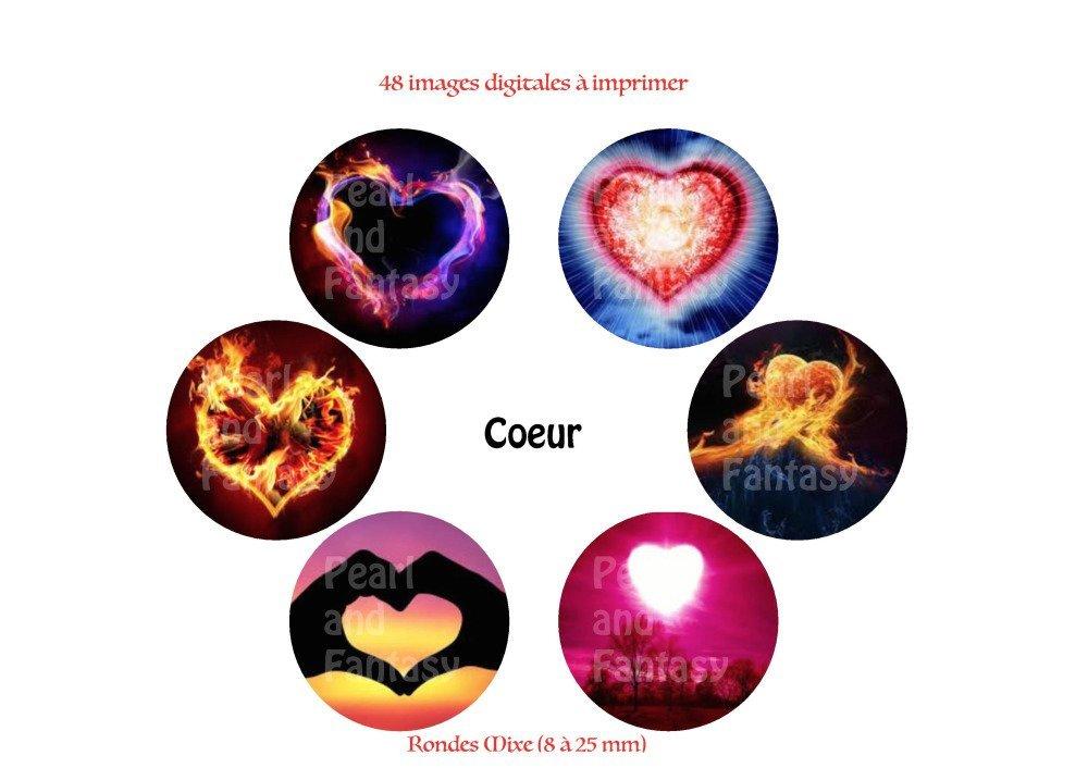 """Images Digitales Rondes """"Coeur"""" Différentes Dimensions"""