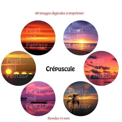 """Images digitales rondes """"crépuscule"""" 14 mm"""