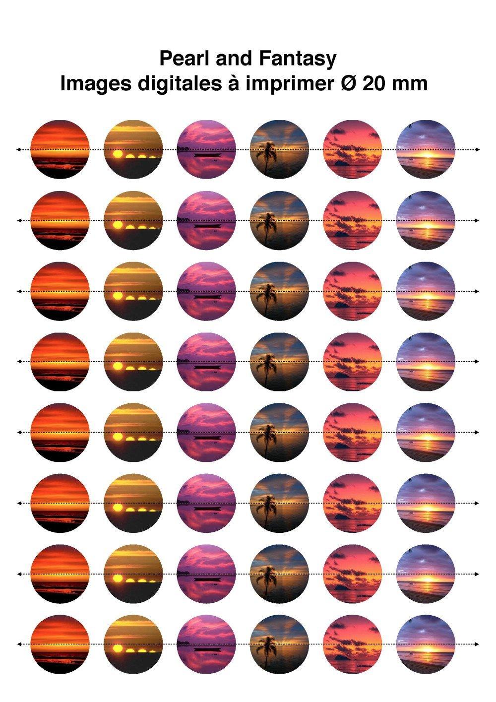 """Images Digitales Rondes """"Crépuscule"""" 20 mm"""