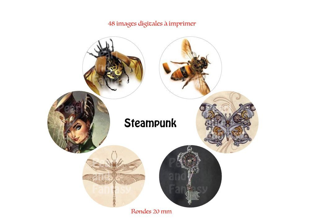"""Images Digitales Rondes """"Steampunk"""" 20 mm"""