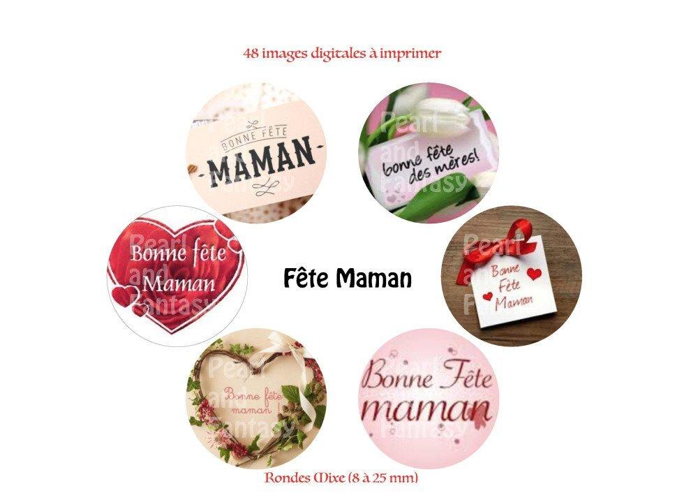 """Images Digitales Rondes """"Fête Maman"""" Différentes Dimensions"""