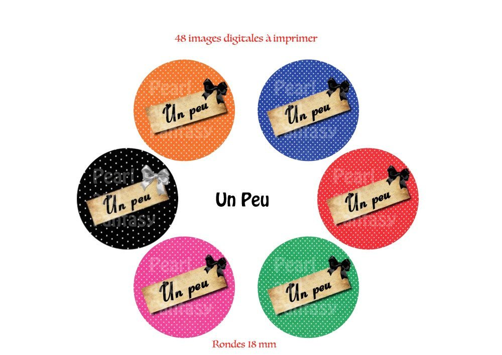 """Images Digitales Rondes """"Un Peu"""" 18 mm"""