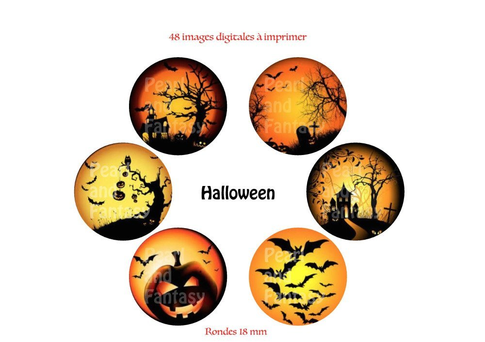"Images Digitales Rondes ""Halloween"" 18 mm"