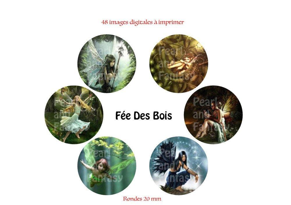 "Images Digitales Rondes ""Fée Des Bois"" 20 mm"