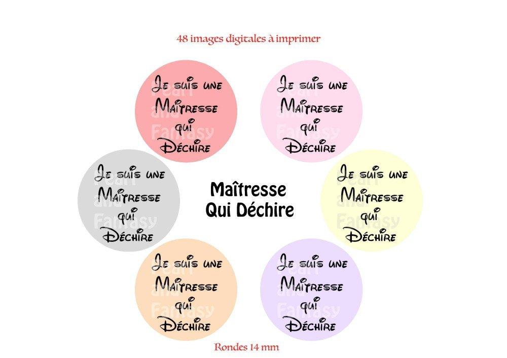 """Images Digitales Rondes """"Maîtresse Qui Déchire"""" 14 mm"""