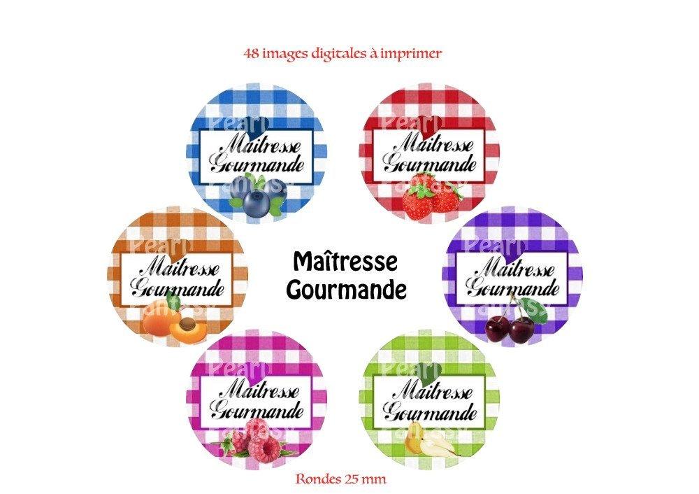 """Images Digitales Rondes """"Maîtresse Gourmande"""" 25 mm"""