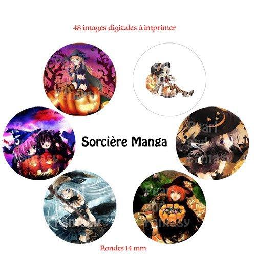 """Images digitales rondes """"sorcière manga"""" 14 mm"""