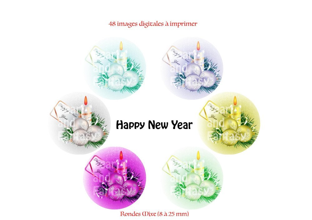 """Images Digitales Rondes """"Happy New Year"""" Différentes Dimensions"""