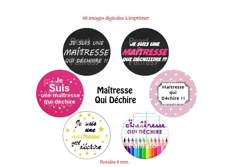 """Images Digitales Rondes """"Maîtresse Qui Déchire"""" 8 mm"""