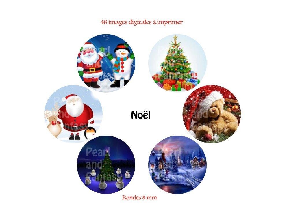 "Images Digitales Rondes ""Noël"" 8 mm"