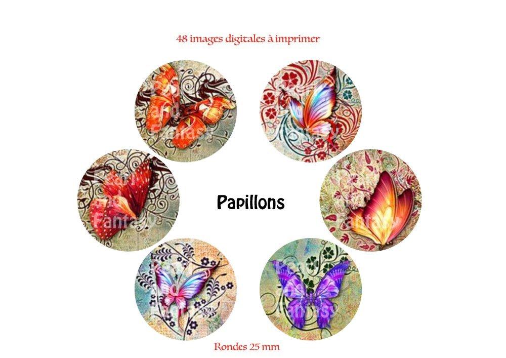 """Images Digitales Rondes """"Papillon"""" 25 mm"""