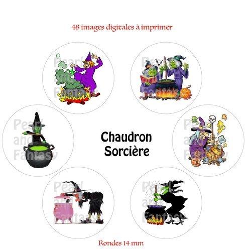 """Images digitales rondes """"chaudron sorcière"""" 14 mm"""