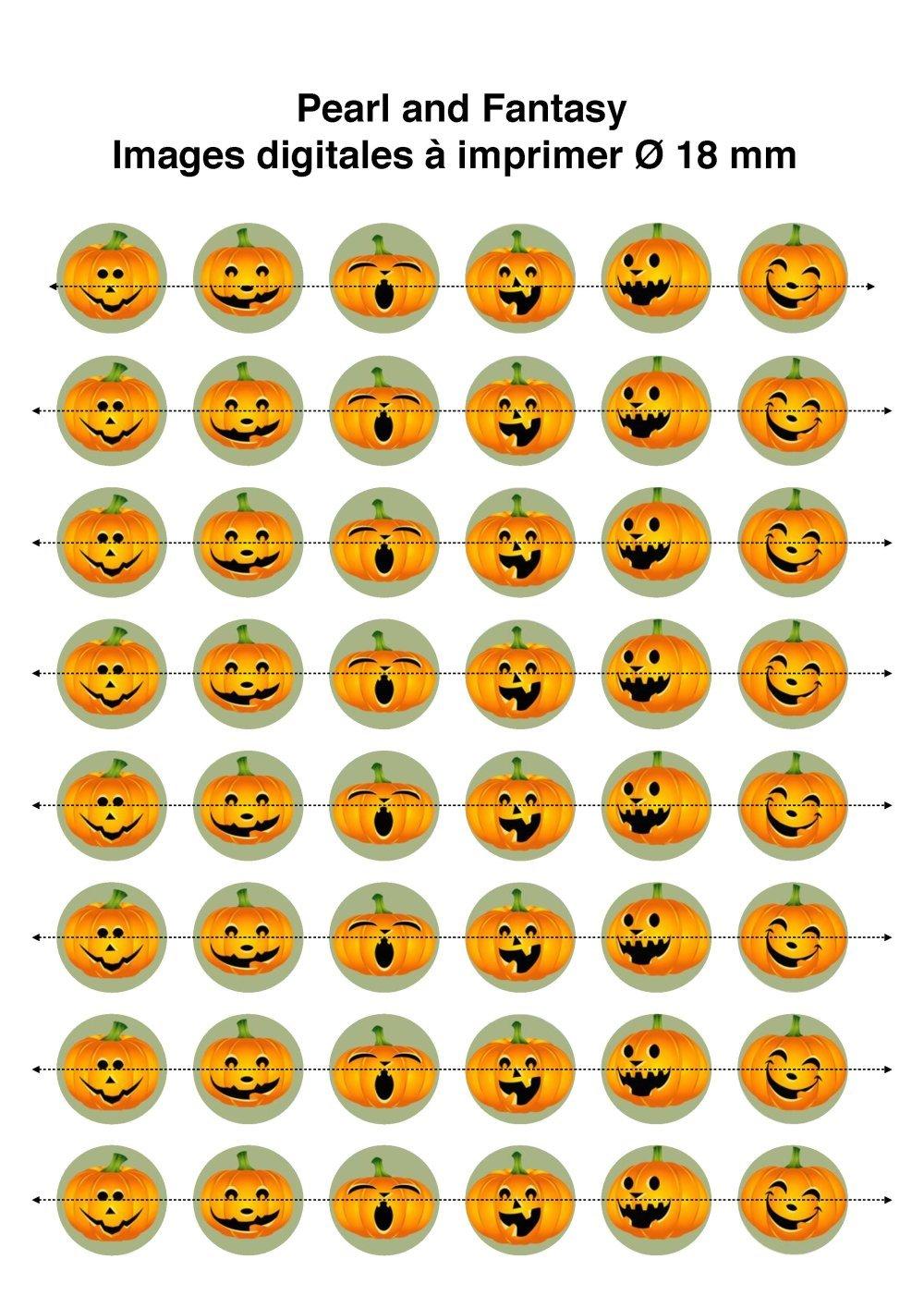 "Images Digitales Rondes ""Citrouilles Halloween"" 18 mm"