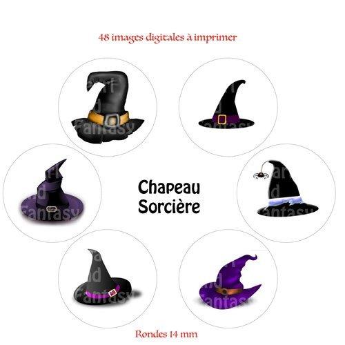 """Images digitales rondes """"chapeau sorcière"""" 14 mm"""
