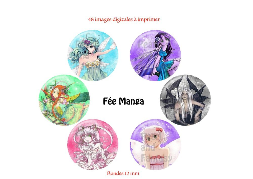 "Images Digitales Rondes ""Fée Manga"" 12 mm"