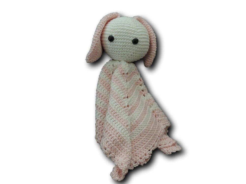 """Doudou """"Lapine"""" au crochet en coton"""