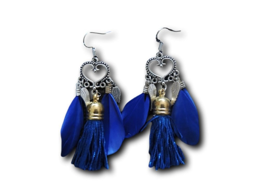 Boucles d'oreilles pendantes Boho Bleu