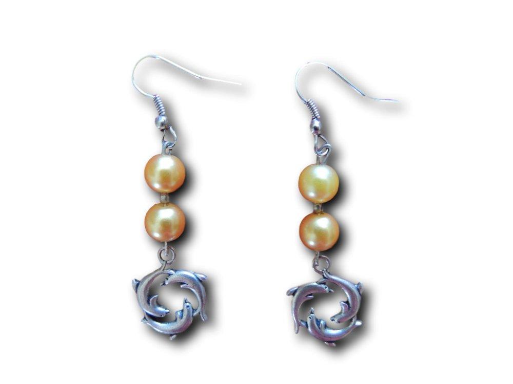 Boucles d'oreilles pendantes Dauphins