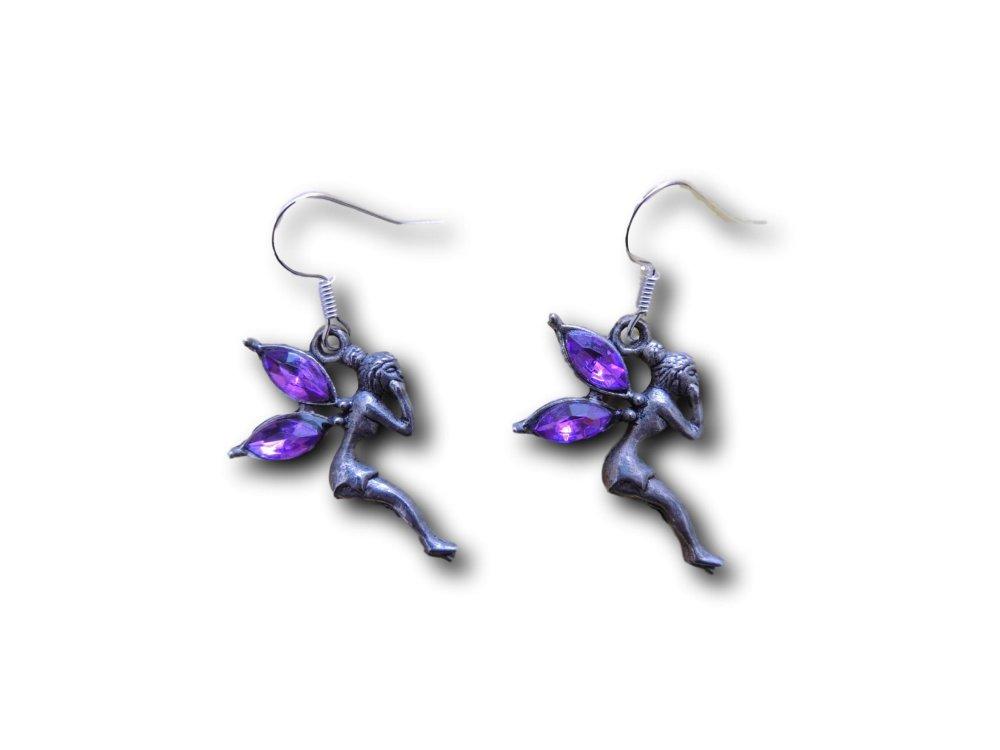 Boucles d'oreilles pendantes Fée Strass Violet