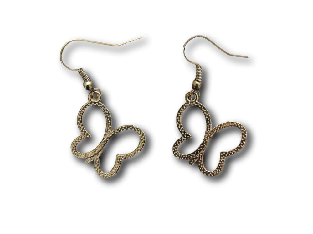 Boucles d'oreilles pendantes Papillon Doré