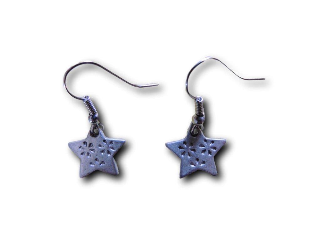 Boucles d'oreilles pendantes Etoile Fleurie