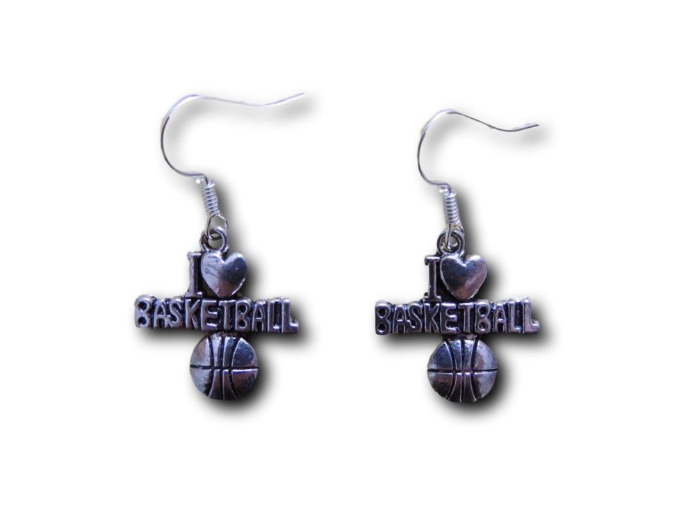 Boucles d'oreilles pendantes I Love Basketball