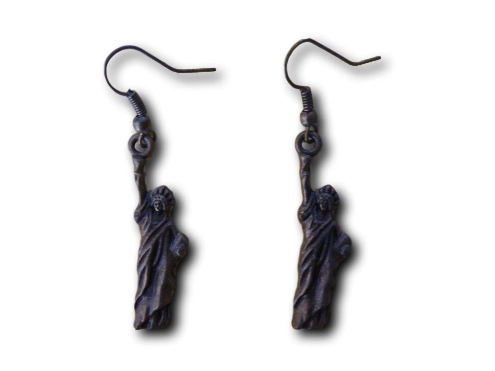 Boucles d'oreilles pendantes Statue De La Liberté Bronze