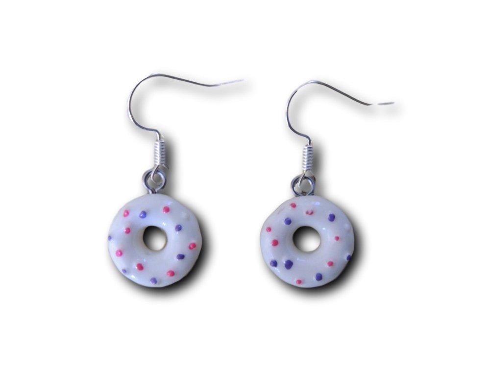 Boucles d'oreilles pendantes Donuts Blanc