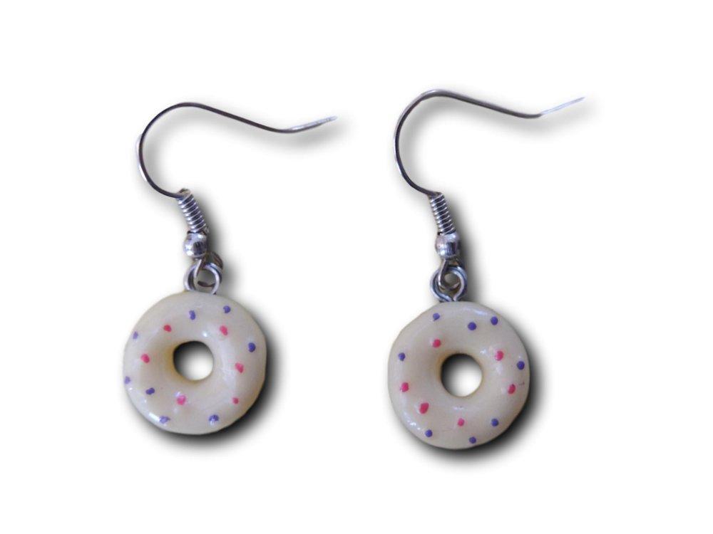 Boucles d'oreilles pendantes Donuts Crème