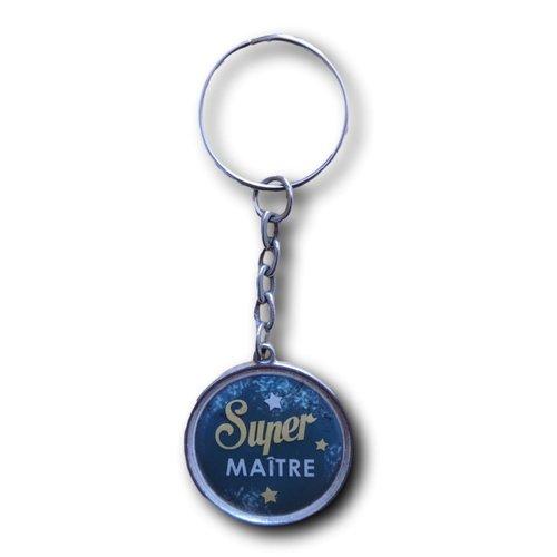 """Porte clés cabochon résine """"super maître"""""""