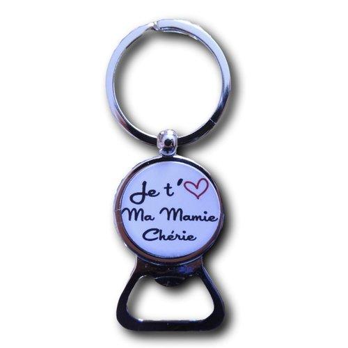 """Porte clés décapsuleur cabochon résine """"je t'aime ma mamie chérie"""""""
