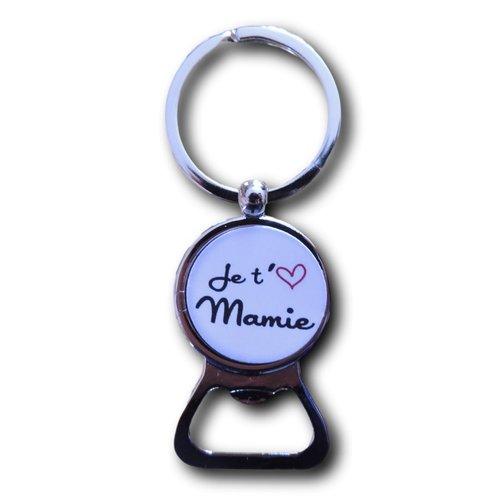 """Porte clés décapsuleur cabochon résine """"je t'aime mamie"""""""