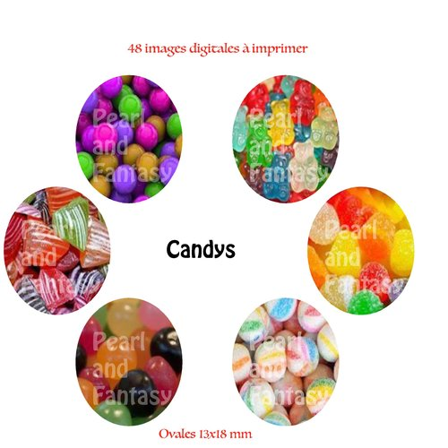 """Images digitales ovales """"candys"""" 13x18 mm"""