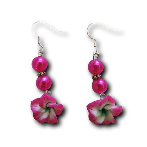 Boucles d'oreilles pendantes fleur fimo rose vert