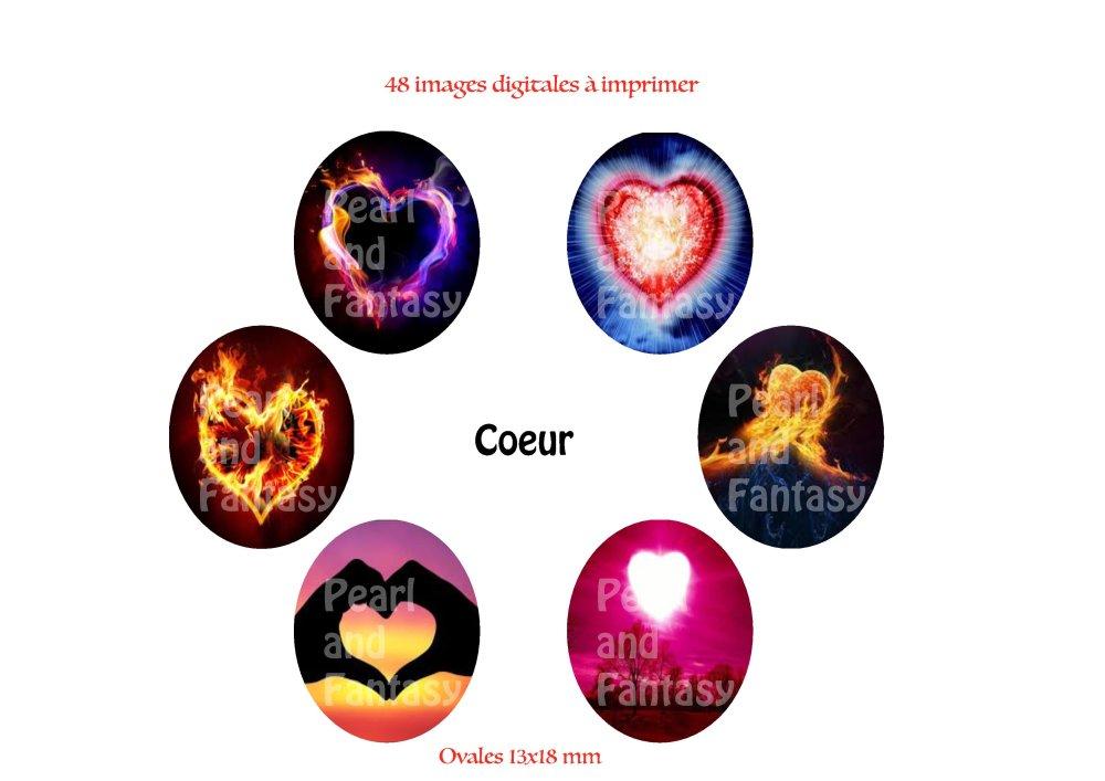 """Images Digitales Ovales """"Coeur"""" 13x18 mm"""