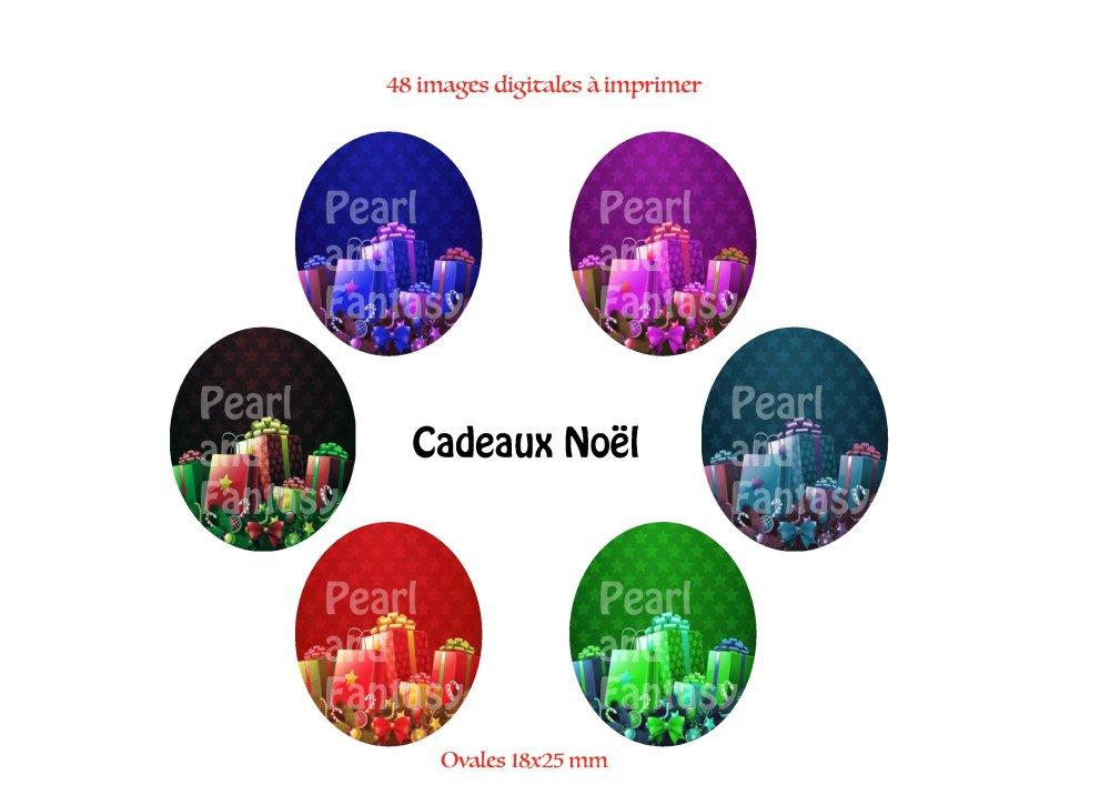 """Images Digitales Ovales """"Cadeaux Noël"""" 18x25 mm"""