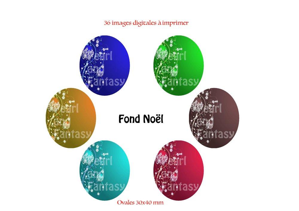 """Images Digitales Ovales """"Fond Noël"""" 30x40 mm"""