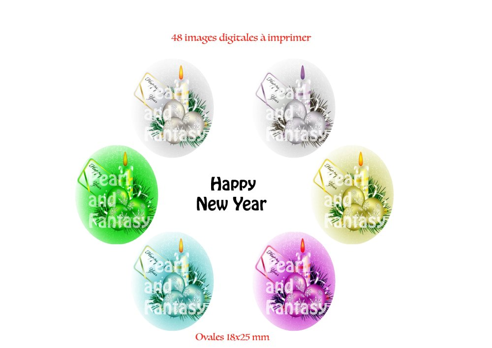 "Images Digitales Ovales ""Happy New Year"" 18x25 mm"